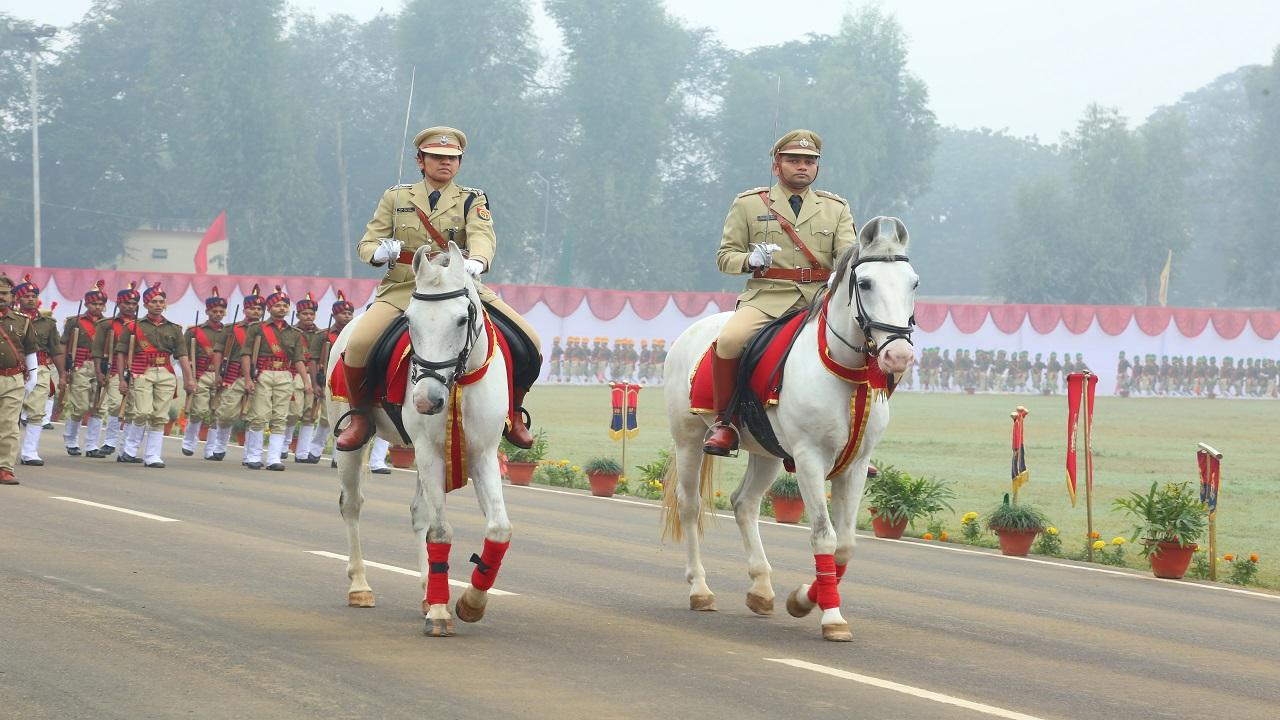 Parade Commander Smt Manjil Saini, IPS in Raitik Police Parade, Police week 2016.
