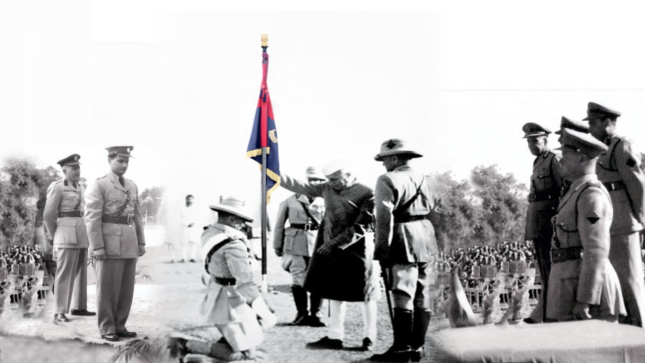 Prime Minister of India awarding UP police colour on 23 November 1952